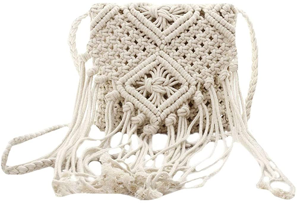 Sun Kea Fringed Round Shoulder Bag Crochet Solid Color Crossbody Purse Summer Beach Holiday Handbag