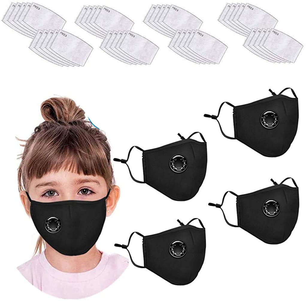Kids Children Reusable Face Bandanas with Activated Carbon Filters, with Breathing Valve for Boys Girls