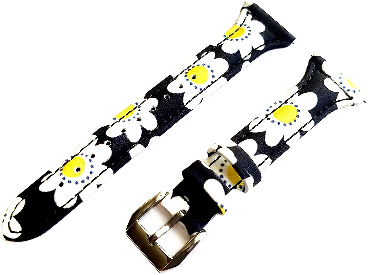 Daisy Floral Slim Band Compatible with 22mm and 23mm Lug Width Sport, Luxury, Casual and Smart Watches Elegant Leather Strap Bracelet (3. Gold Color Buckle, 22mm Watch Lug Width)