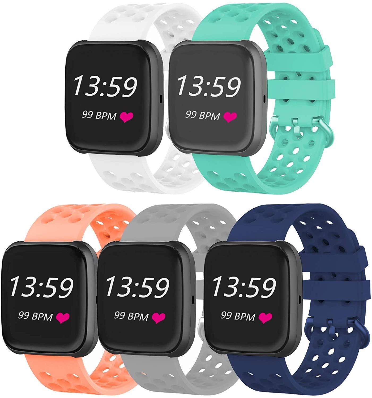 VINIKI 5Pcs Sport Bands Compatible with Fitbit Versa/Versa 2/Versa Lite/SE Special Edition Adjustable Sport Wristbands (5Pcs-5/S)