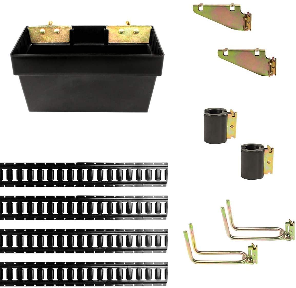 DC Cargo Mall E Track Organization Kit - 11 Pieces: 5 ft Black E Track Rails & E Track Organization Accessories