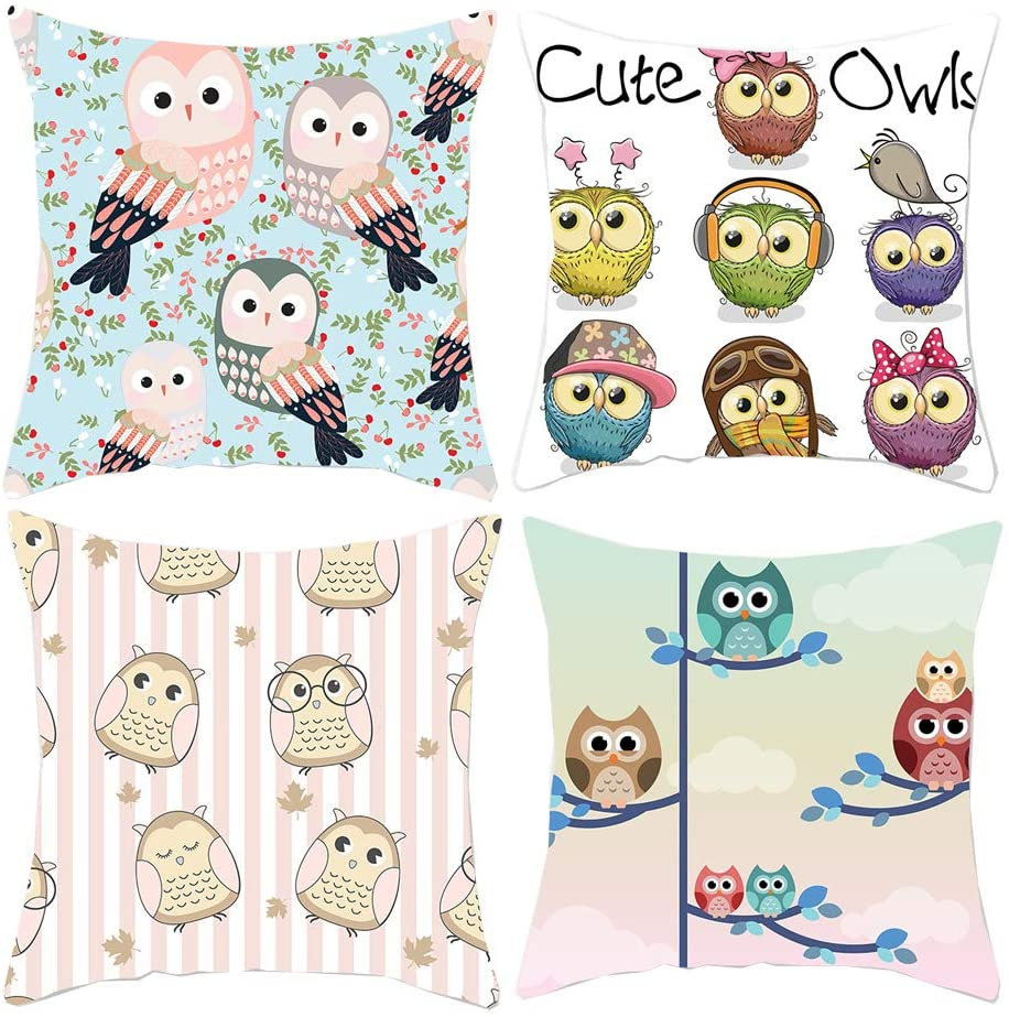 HOSTECCO Owl Pillow Covers Cute Cartoon Animal Throw Pillowcases for Couch Set of 4 Square Decorative Cushion Covers 18x18 Inches