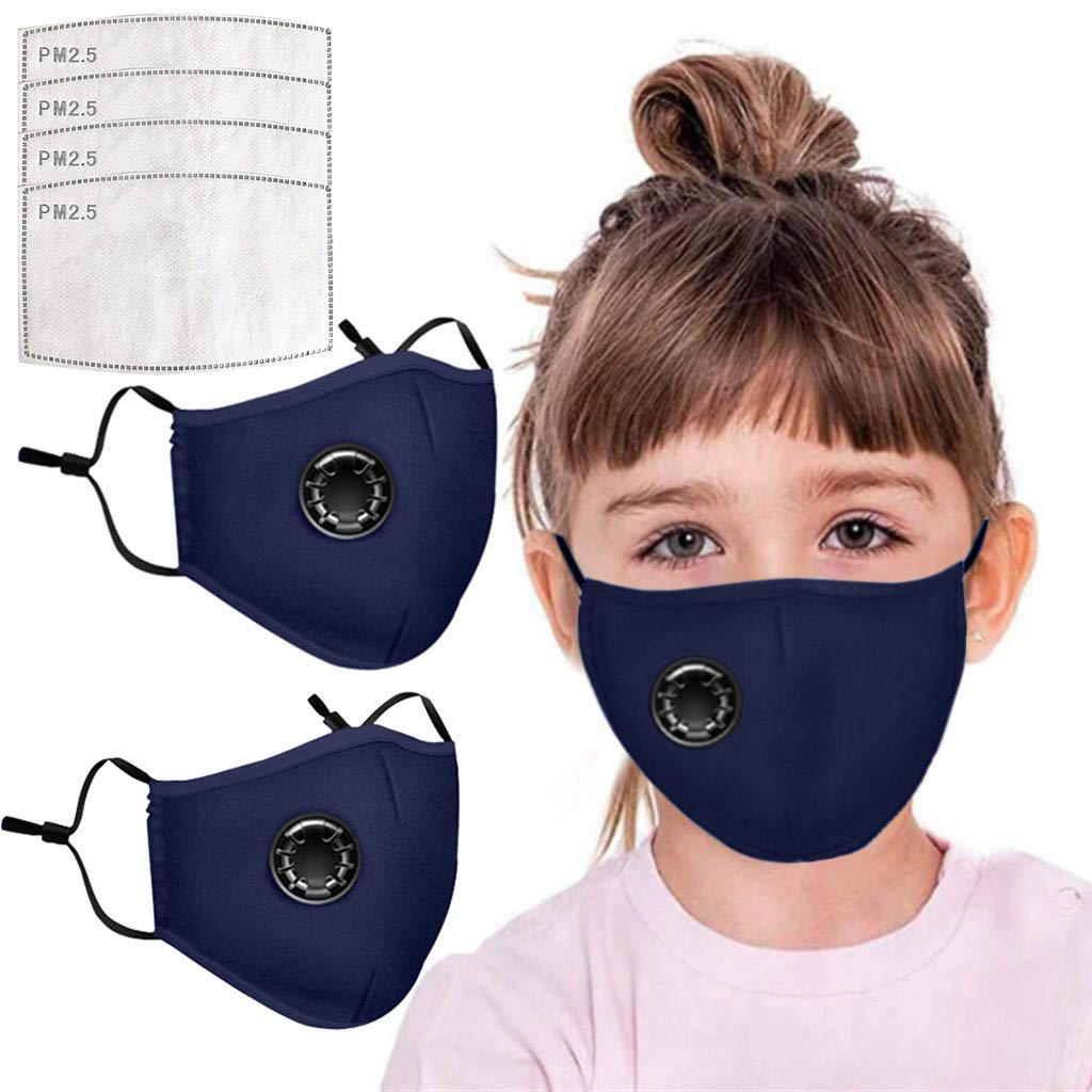 Pollyhb 1/2Pcs Cotton Face Màsc Kids Bandanas with Breathing Valve, 4 Replace Filter Sheets,Washable Reusable Protection Health for Childs (2 Face + 4 Filter, Navy)