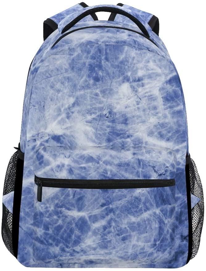 ALAZA Stylish Blue White Marble Durable Backpack Book College School Travel Backbag Shoulder Bag for Women Girls Men Boys