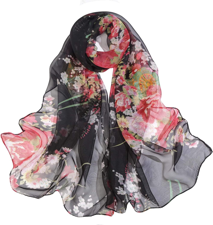 Acotavie Scarfs for Women Lightweight Fashion Scarves Print Floral Pattern Scarf Shawl Wraps