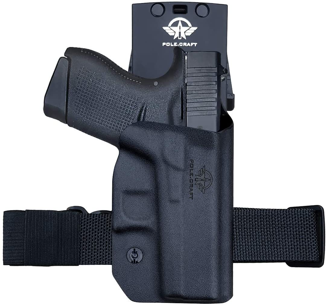 PoLe.Craft OWB Kydex Holster Custom Fit: Glock 43 / Glock 43X (Gen 3 4 5) Pistol - Outside Waistband Carry 1.5-2 Inch Belt Clip - Adj. Width Height Retention Cant, Entrance Widened