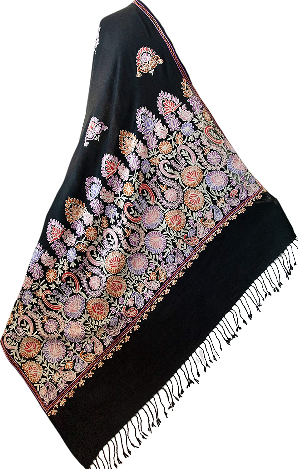 Colorful Crewel Embroidery on Black Wool Shawl Pashmina Style Embroidered Shawl