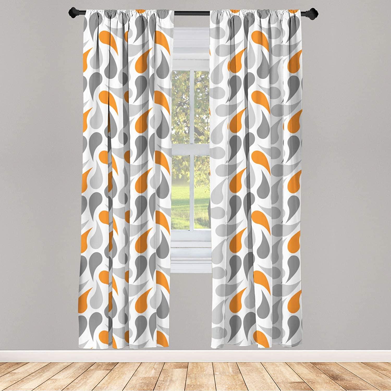 Ambesonne Geometric 2 Panel Curtain Set, Cultures Motif Traditional Teardrop Pattern Vintage Palette, Lightweight Window Treatment Living Room Bedroom Decor, 56