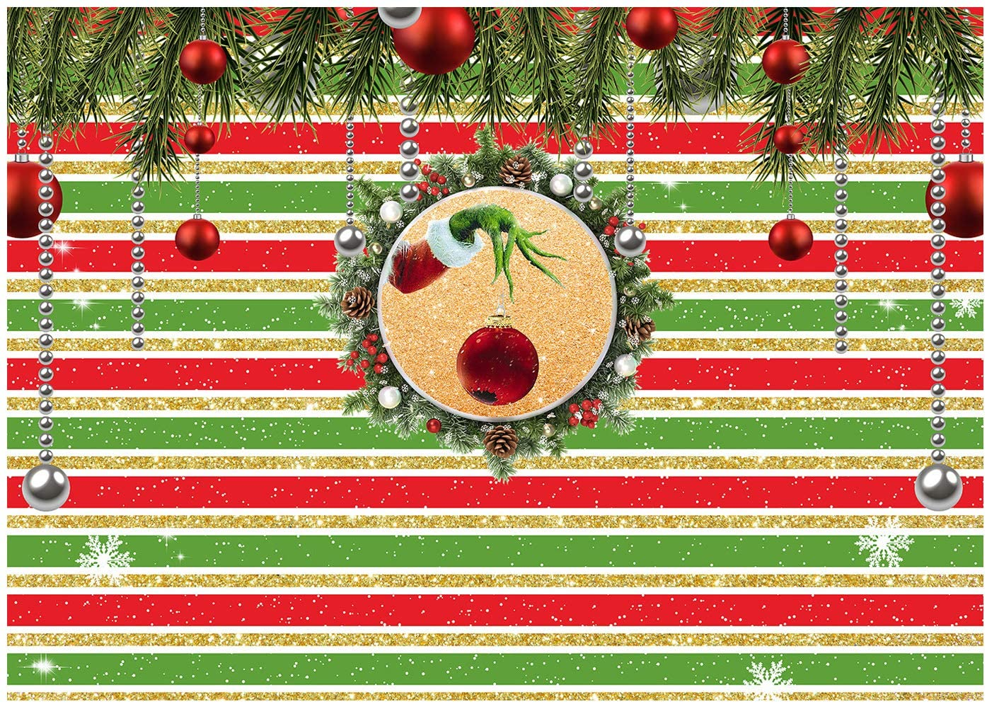 DULUDA Winter Christmas Garland Ball Backdrop Red Green Golden Stipes Snow Pine Branch Photography Background Merry Xmas Party Supply for Photoshoot Decoration Photo Booth Prop 7X5FT XM69A