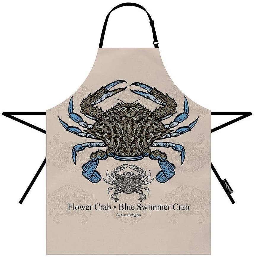 Moslion Ocean Beach Theme Crab Watercolor Marine Animal Vintage Nautical Sea Wildlife Waterproof Resistant Cooking Kitchen Chef BBQ Adjustable Aprons for Women Men 27x31 Inch