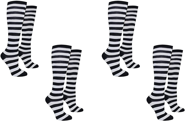Rugby Socks Adult (Women) Sports Colored Socks - Striped Knee High Sport Novelty Socks - Fits Shoe Size: 4-10 (Ladies)
