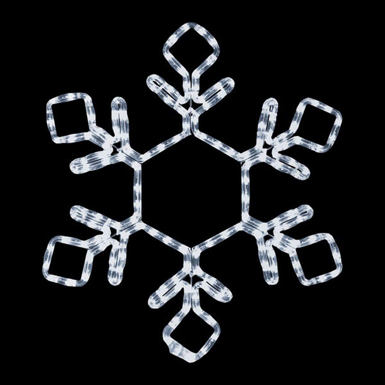 ElectricArt 18 Inch Cool White LED Rope Light Snowflake Motif v2