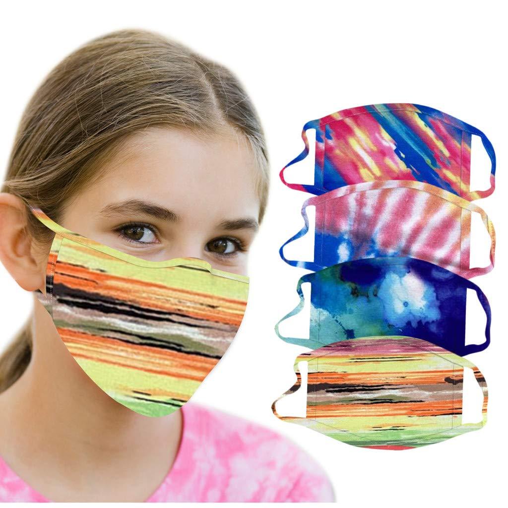OMGYST 4pcs Kids Neck Gaiter Washable Protect_Face_Mask_Cloth Cotton Tie-dye Print Face Bandanas Mouth Guard Reusable Adjustable School Supplies for Kids