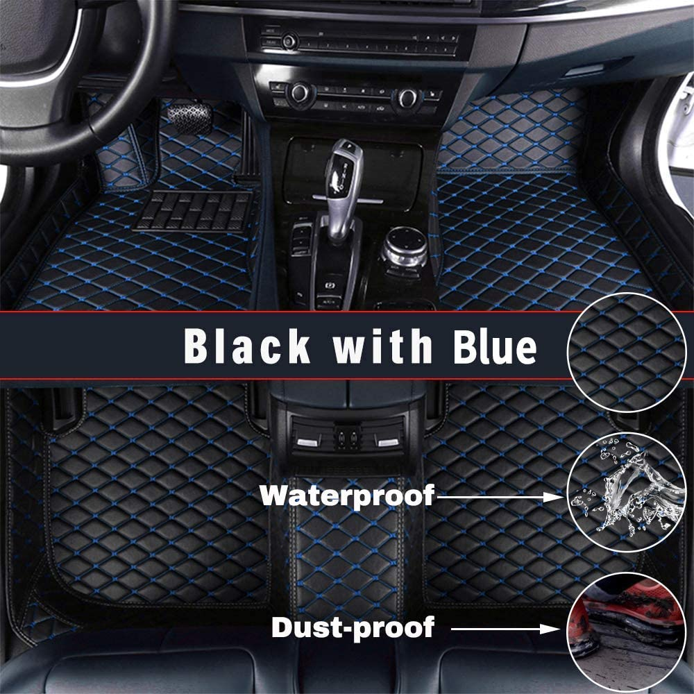 Maidao Custom Car Floor Mats for Toyota Avalon 2016-2019 Can Be Customized for 99% of Car Models Can Be Customized Pattern Or Logo Waterproof Non-Slip Leather Liner Set Dark Blue