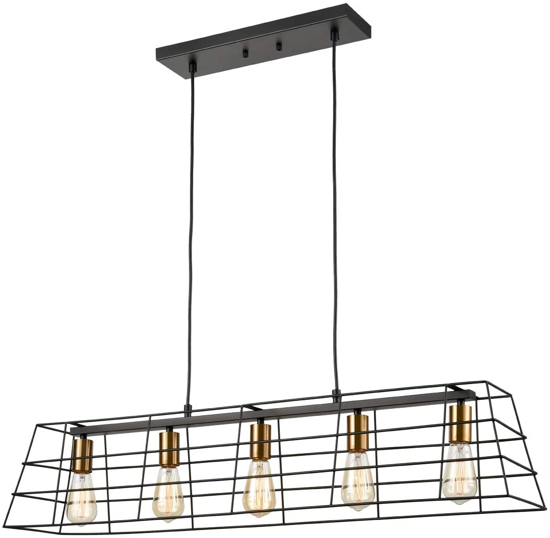 Industrial Dining Room Chandeliers 5-Light Linear Black Brass Kitchen Island Lighting