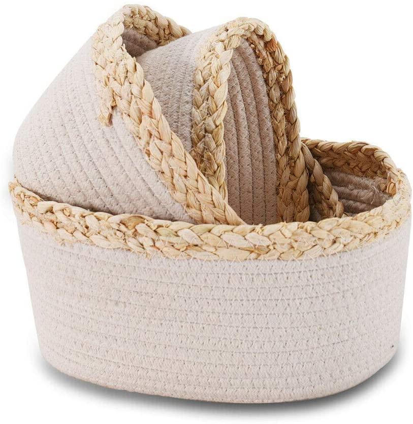 BAOLIANG Rope Storage Baskets Set of 3, Small Decorative Organizer Shallow Basket Woven Basket for Books, Magazines, Toys Storage Bin, White