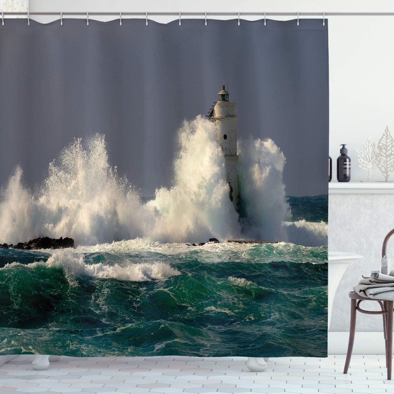 Ambesonne Lighthouse Shower Curtain, Lighthouse in Sardinia Italy Splashing Surfing Travel Locations Panorama, Cloth Fabric Bathroom Decor Set with Hooks, 70