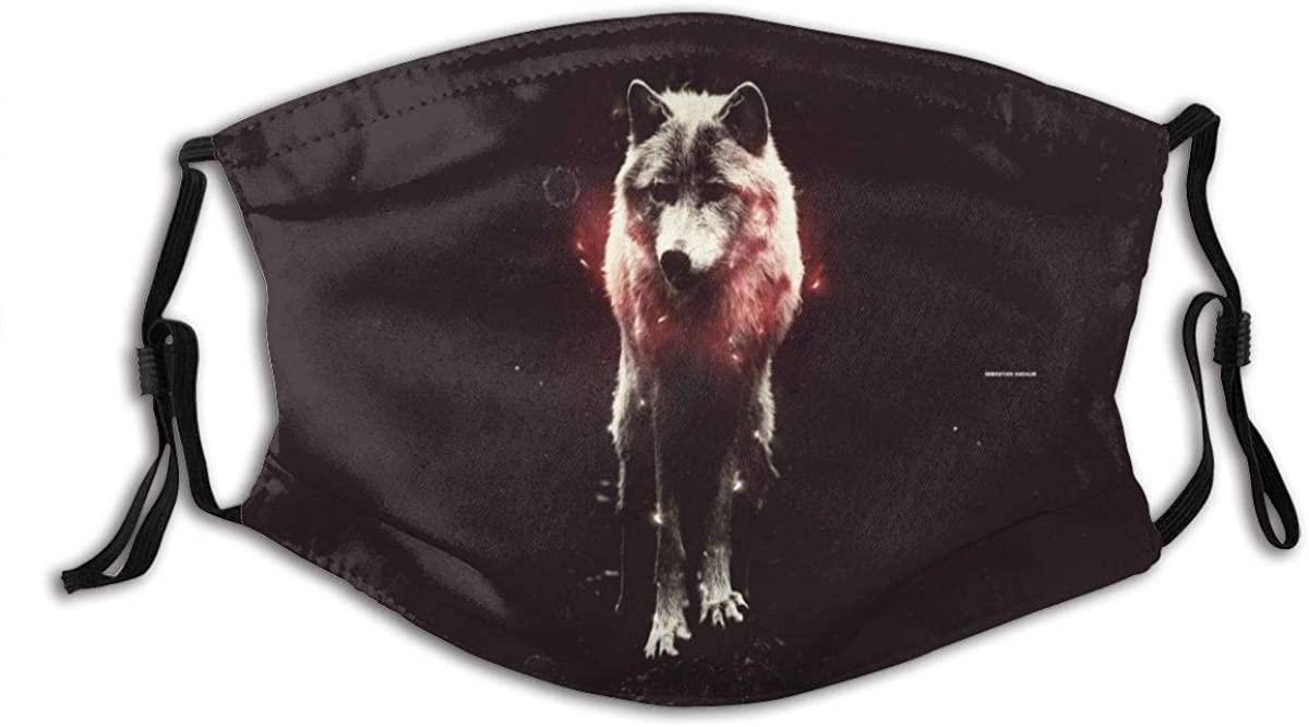 Red Wolf Animals Face Mask Fashion Dustproof Breathable Reusable Scarf Adjustable Washable Protective Bandana