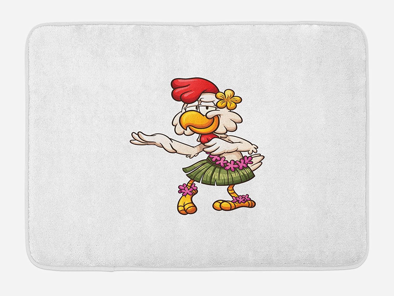Lunarable Chicken Bath Mat, Hawaiian Dancer Chick with Grass Skirt and Ornate Flowers Funny Cartoon Character, Plush Bathroom Decor Mat with Non Slip Backing, 29.5