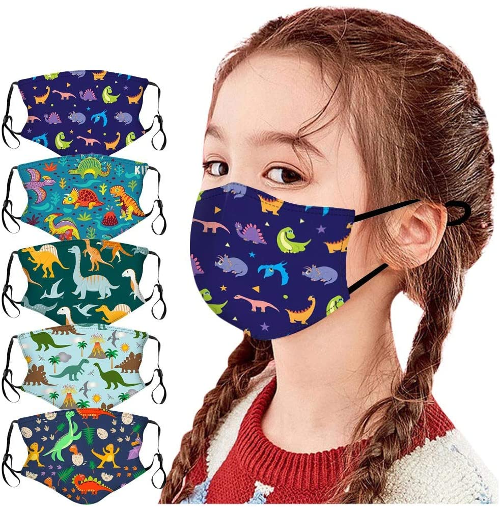 SUGUJU 5pcs Kids Face Mask Reusable Washable Cute Cloth Face Masks for Kids Boys Girls with Adjustable Ear Loops
