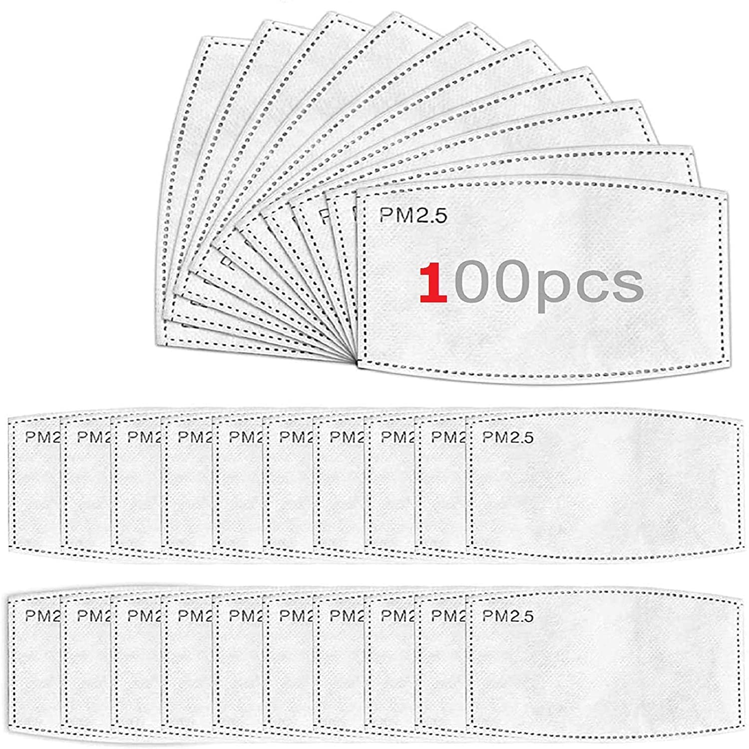 100 PCS Filters for Face Masks Activated Carbon PM2.5 Mask Filter Replacement for Men Women