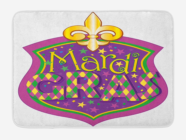 Ambesonne Mardi Gras Bath Mat, Blazon Design Mardi Gras Inscription and Fleur de Lis, Plush Bathroom Decor Mat with Non Slip Backing, 29.5