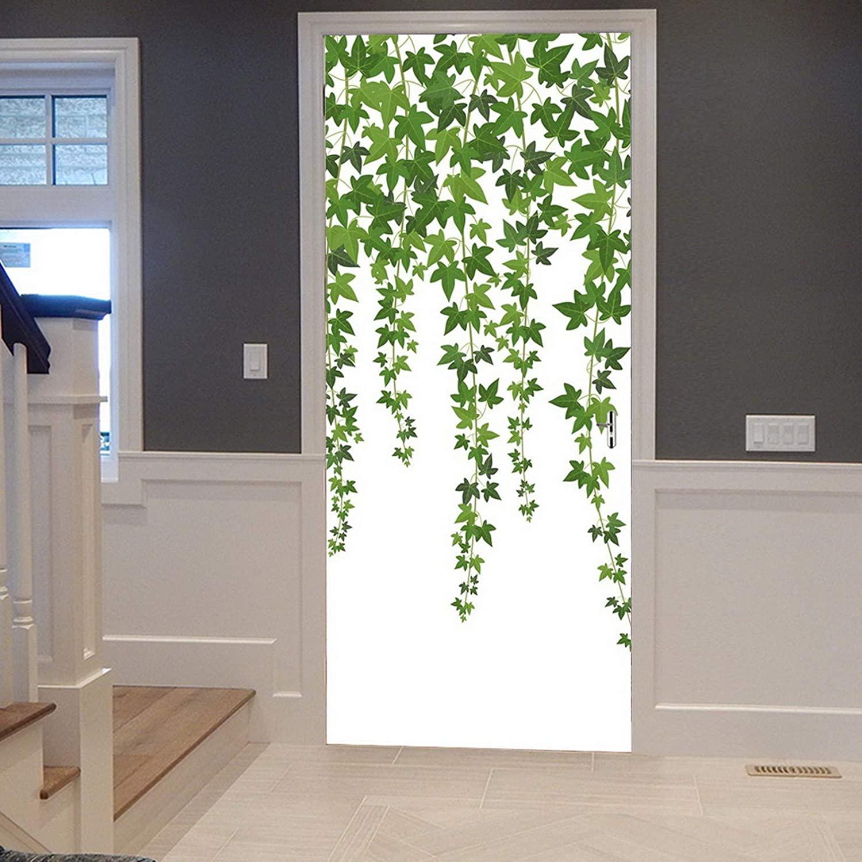 A.Monamour 3D Door Stickers for Interior Doors Green Ivy Vines Leaf Wall Climbing Plant White Background Vinyl Waterproof Self Adhesive Door Mural Decals for Bedroom Office Bathroom 90 x 200 cm