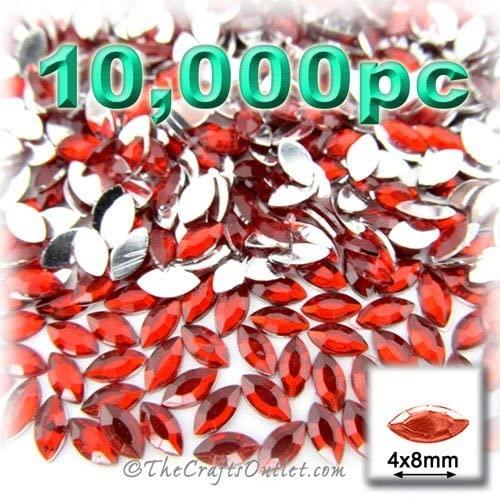 10,000pc Rhinestones Eye Shaped (Navette) 4x8mm Flatback Ruby Red RED