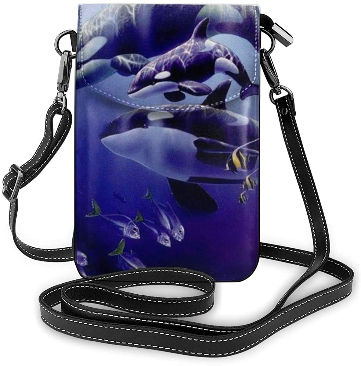 Crossbody Cell Phone Purse Killer Whales Small Crossbody Bags Women Pu Shoulder Bag Handbag