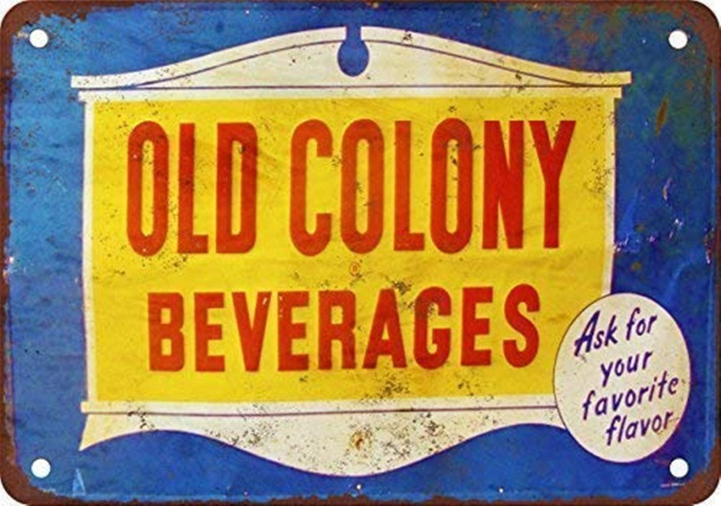 YILMEN New Tin Sign Old Colony Beverages Vintage Look Reproduction Aluminum Metal Sign 8x12 INCH (M4025)