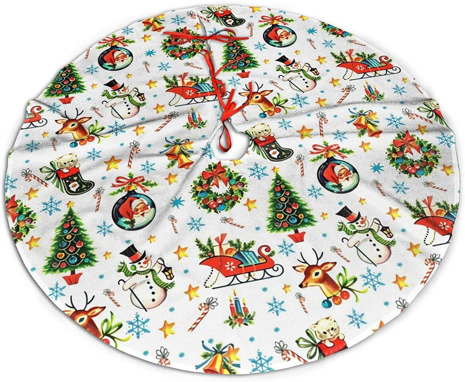 antkondnm Merry Christmas Xmas Stars Bells Snowflakes Candy Canes Christmas Tree Skirt - Holiday Party Decoration 36 inch