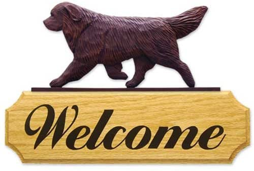 Michael Park Brown Newfoundland Dog in Gait Welcome Sign