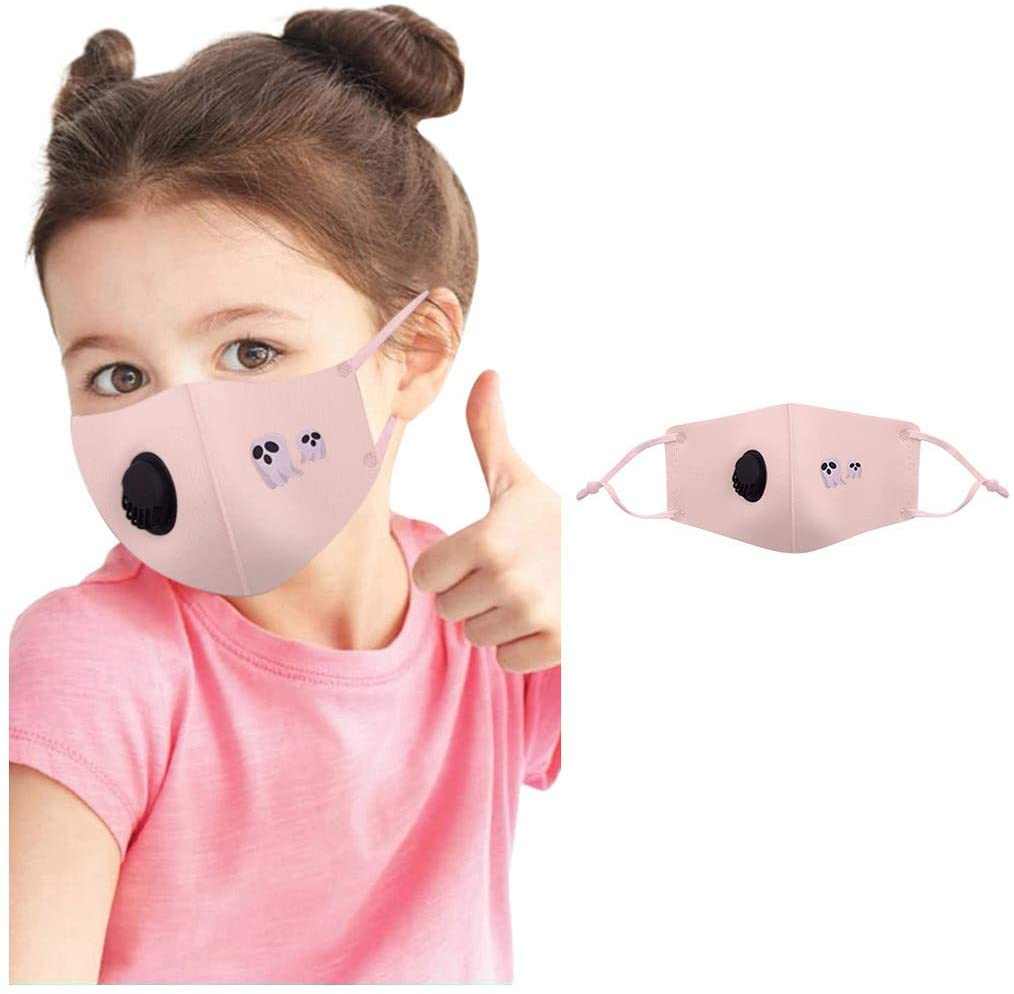 Children Cute Print Anime_Face_Mask Space Cotton Belt, Pink Adjustable Ear Loop Washable and Reusable, for Kids Boys Girls Face 3-12 Years Old