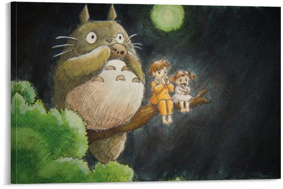 My Neighbor Totoro at Night, Hayao Miyazaki Art Canvas Print Poster Artwork for Bedroom 12x18inch(30x45cm)