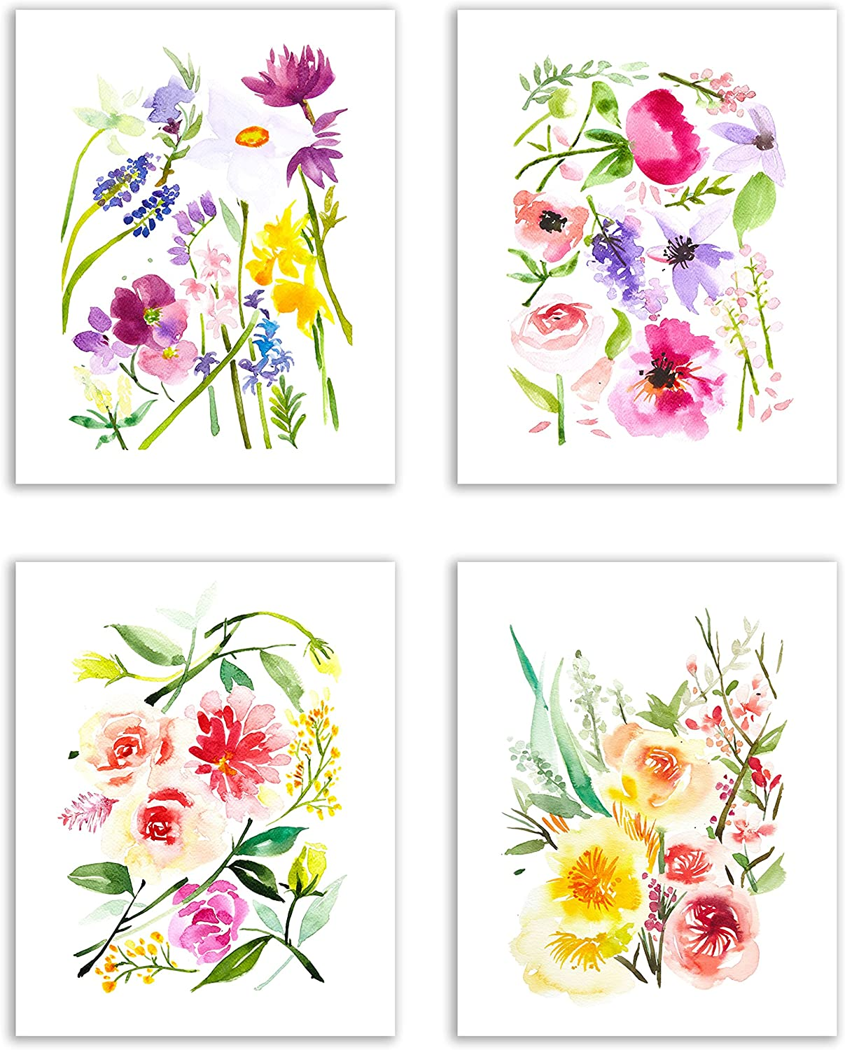 Floral Watercolor Pastel Flower Art Prints — Set of Four 8x10 Photos of Daffodils, Periwinkle, Peonies, Dahlias, Hyacinth, Feverfew and Lily of The Valley