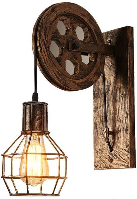 Industrial Vintage Iron Wall Lamp Bedroom Creative Retro Lift Pulley Edison Wall Lights Dining Room LED Fixture for Indoor Lighting Barn Hallway Restaurant Living Room in Bronze Finished 1 Light E26