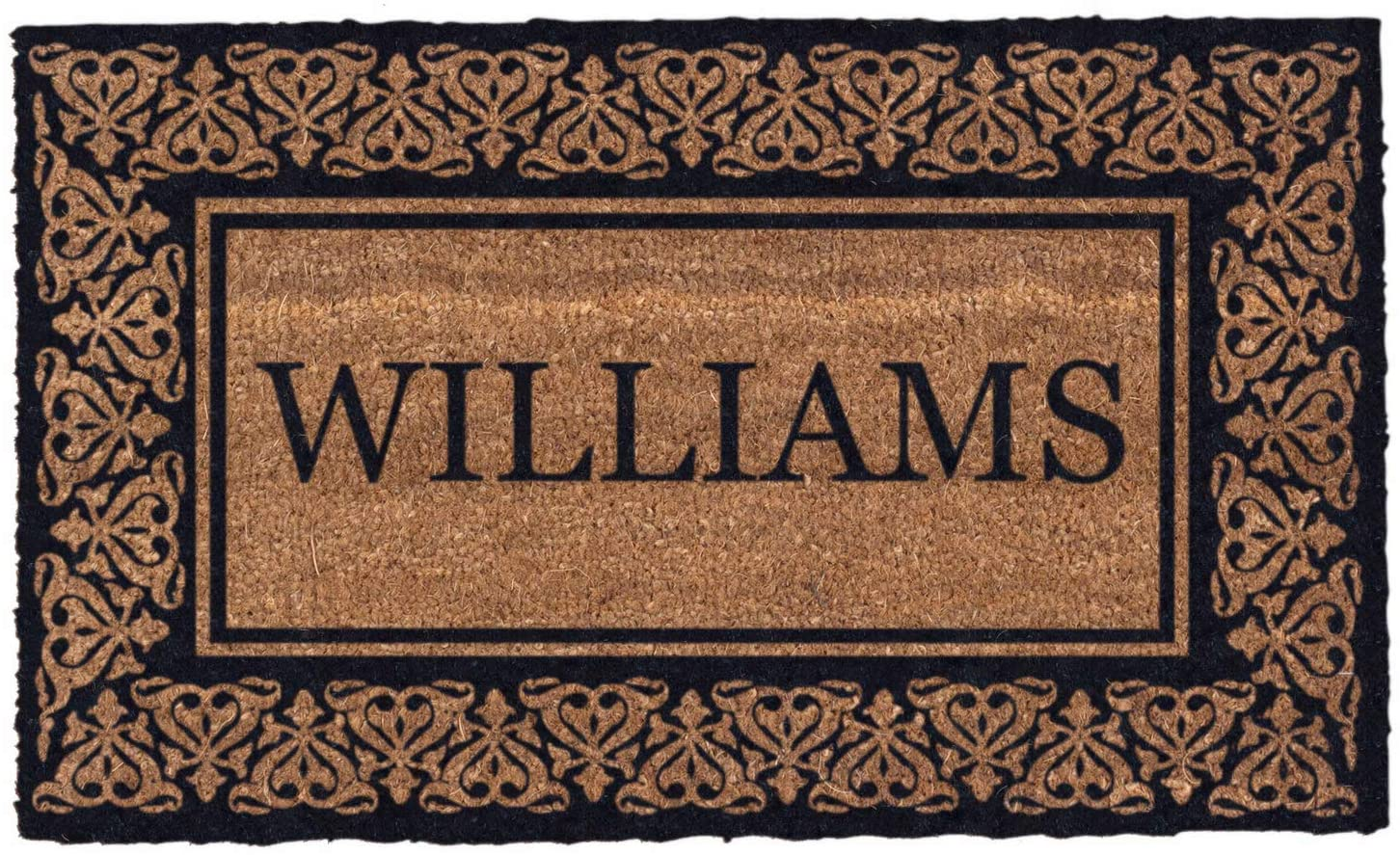 Coco Mats 'N More Black Blooming Hearts Bordered Personalized Coco Doormat 38