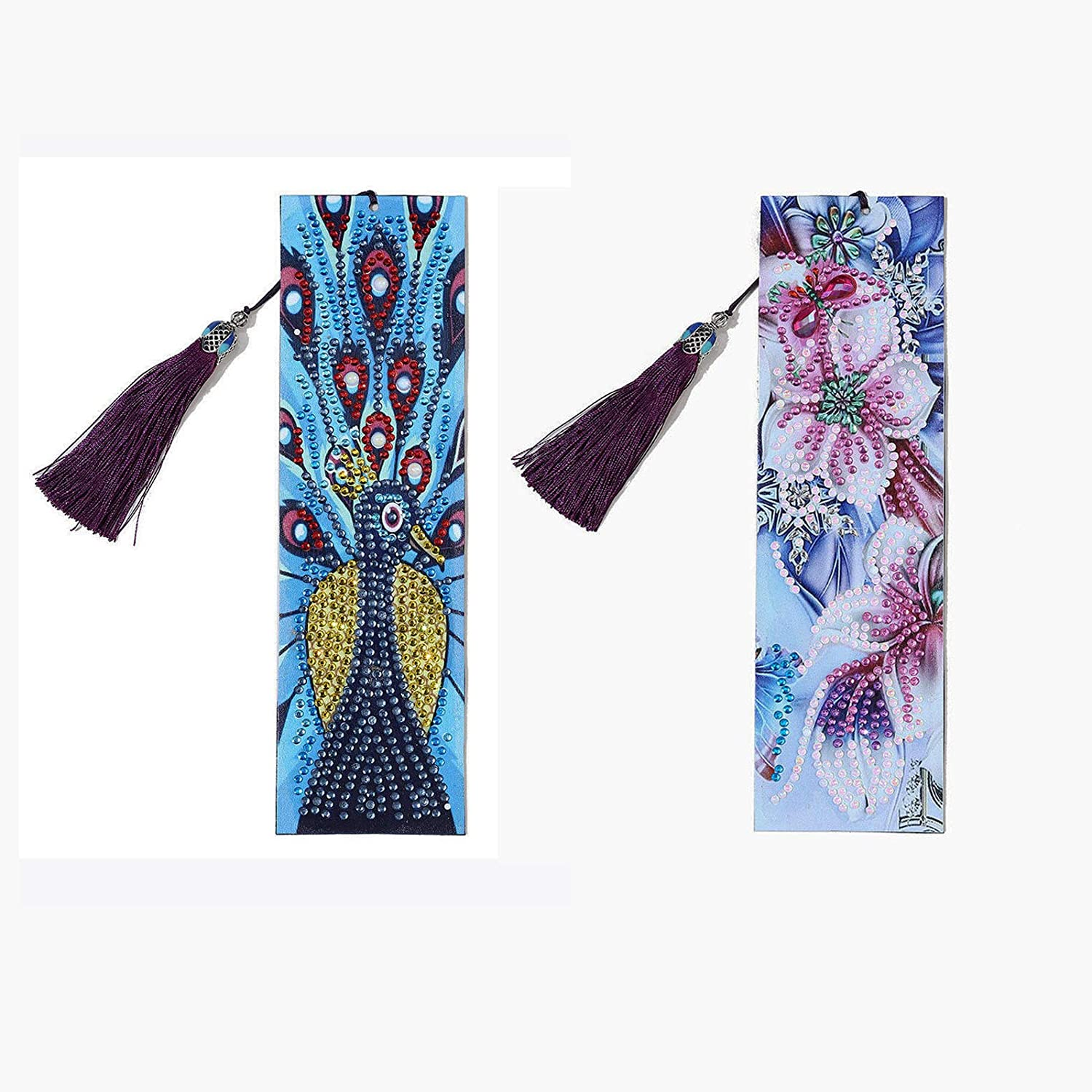 ZIIVARD Bookmark 5D Diamond Painting Peacock Butterfly Datura Flowers with Leather Tassel,Full Drill Beaded Book Mark for Valentines Birthday Embroidery Arts Crafts Gifts (Peacock & Flower)