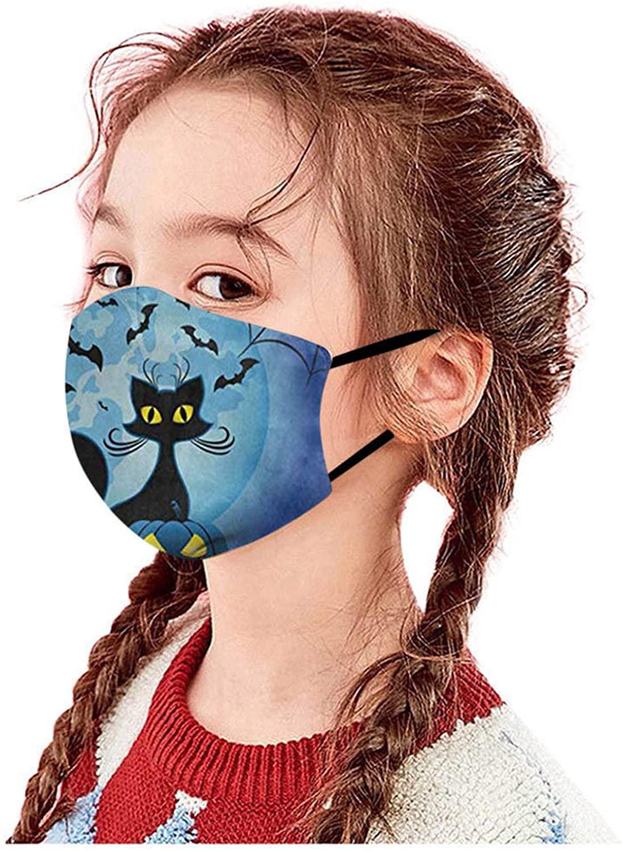 Selinora Kids Face_Masks Halloween Cartoon Print for School Outdoor Reusable Face Bandanas Back to School Supplies