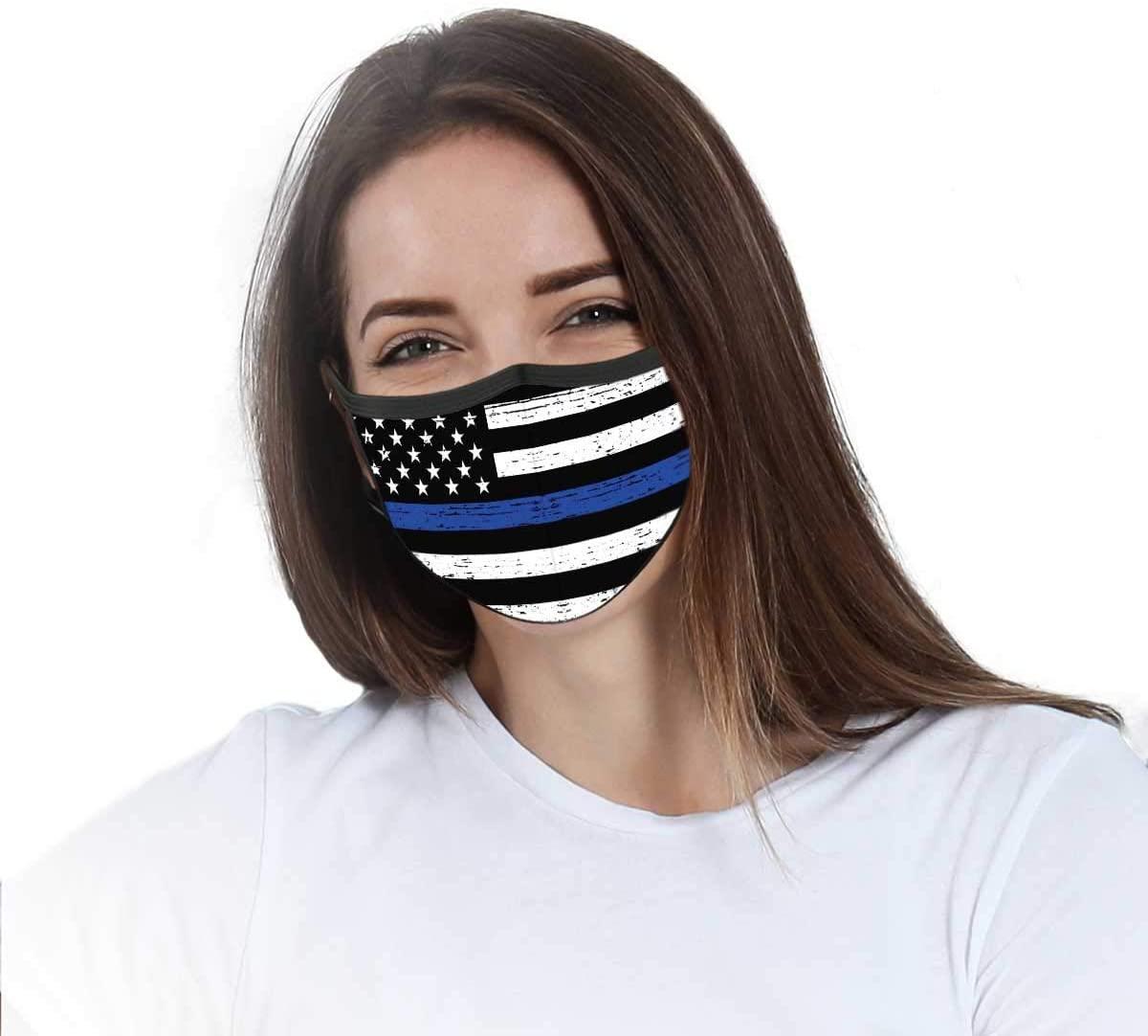 VTH GLOBAL Police Officer Thin Blue Line Lives Matter American Flag Law Enforcement Support Back Deputy Sheriff Design Print Cloth Reusable Washable Face Mask Women Men for Dust Protection