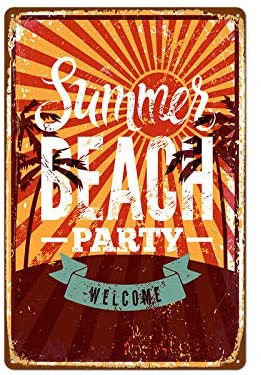 Summer Beach Party Metal Tin Sign Retro Wall Decor Signs 8x12inch
