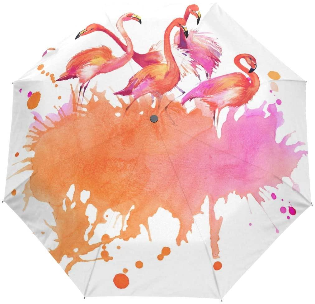 FORMRS Compact Travel Umbrella Watercolor Flamingo Bird Auto Open Close Umbrella Windproof Anti-UV