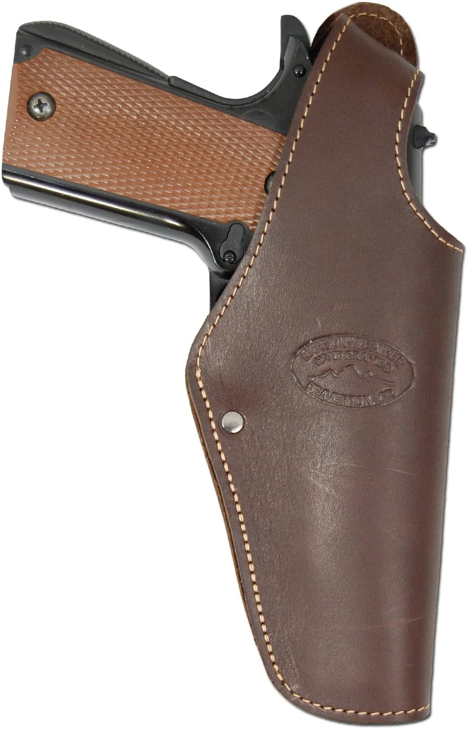Barsony New Brown Leather OWB Belt Clip Holster for Full Size 9mm 40 45