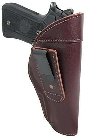 Barsony New Burgundy Leather Tuckable IWB Holster for Full Size 9mm 40 45