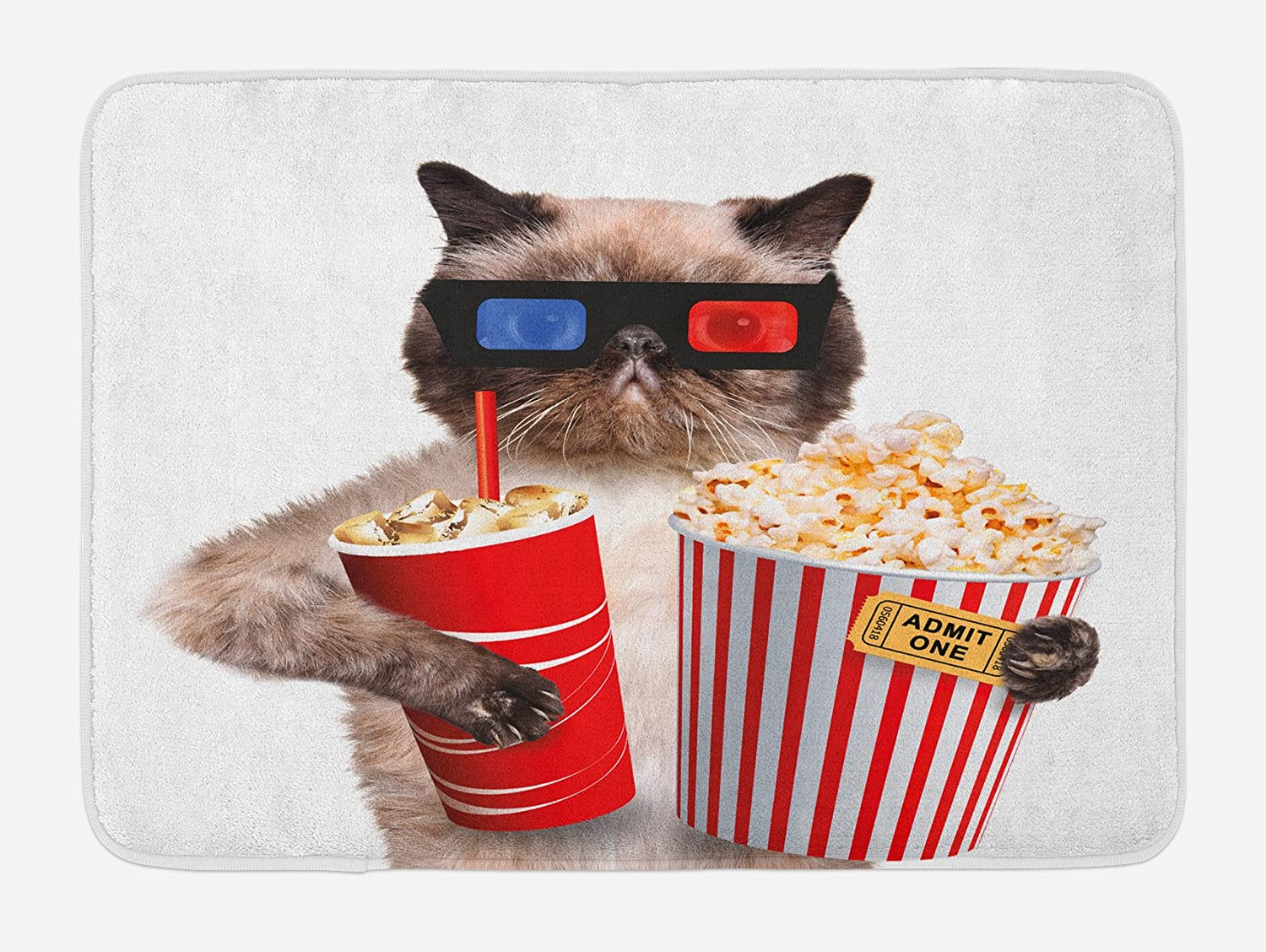 Ambesonne Movie Theater Bath Mat, Cat Popcorn and Drink Watching Film Glasses Entertainment Cinema Fun, Plush Bathroom Decor Mat with Non Slip Backing, 29.5