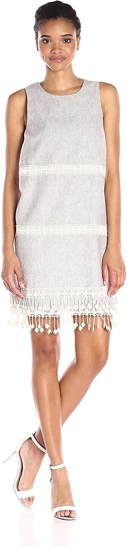 kensie Light Tan Dress Sleeveless Ivory Crochet Fringe Small