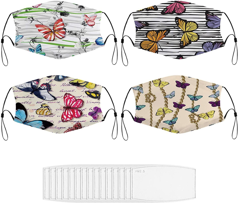 4PCS Face Mask Butterflies Outdoors Reusable Mask for Adult