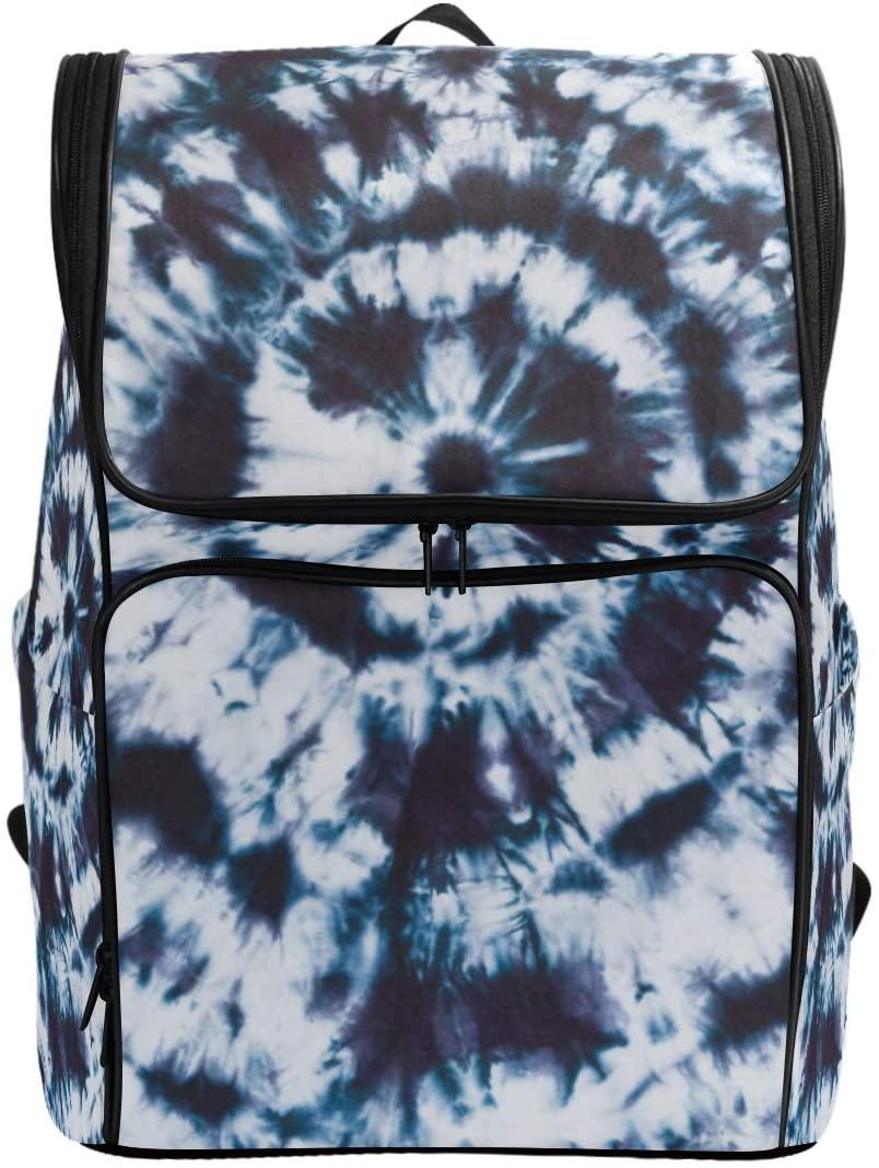 Blue Swirls Tie Dye Backpack Waterproof Polyester Campus Backpack Lightweight Travel Daypack Large Capacity