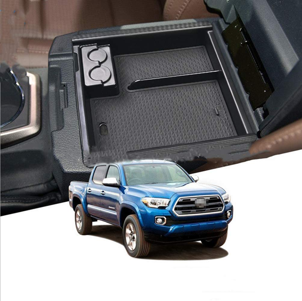 ALLYARD for Toyota Tacoma 2016-2019 Custom Center Console Organizer Armrest Box Secondary Storage Insert ABS Black Materials Full Tray for Hidden Accessories Black