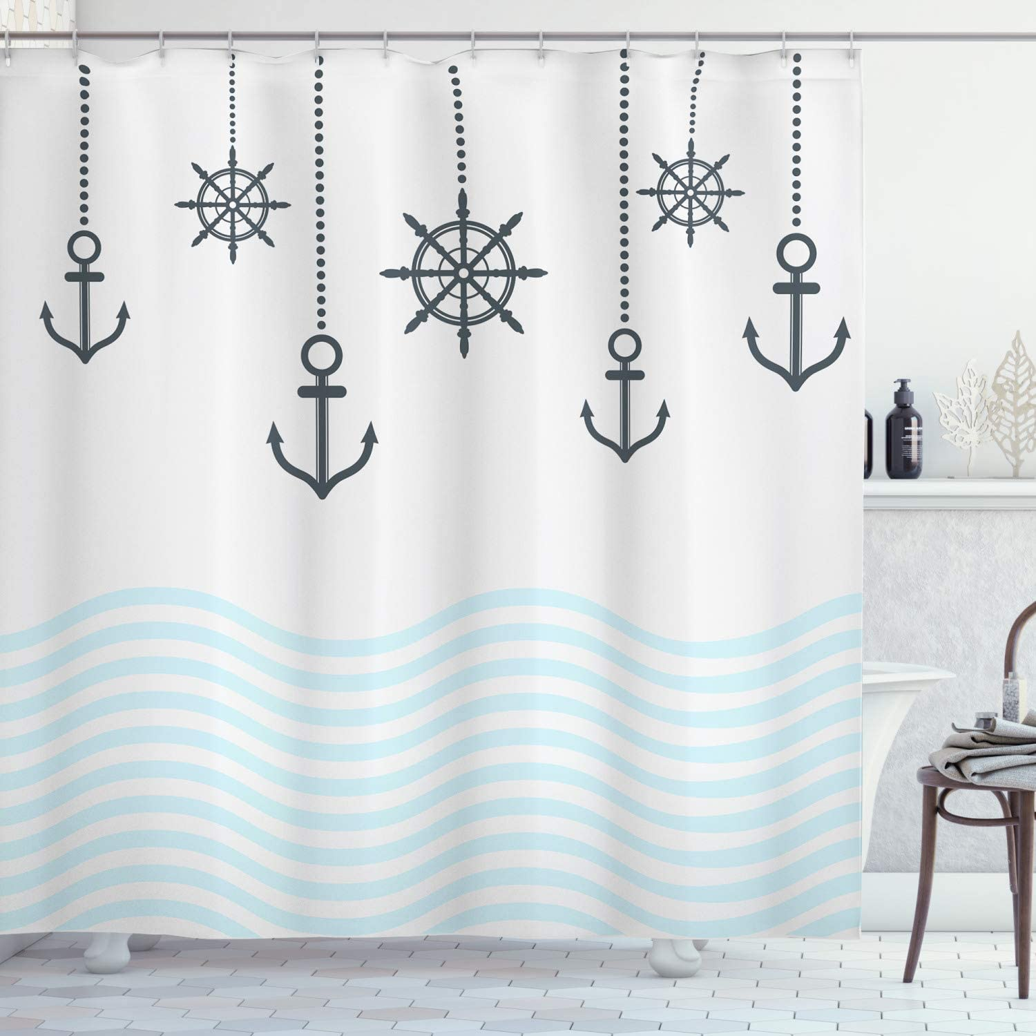 Ambesonne Anchor Shower Curtain, Hanging Nautical Steering Wheel and Anchors Abstract Ocean Waves, Cloth Fabric Bathroom Decor Set with Hooks, 70